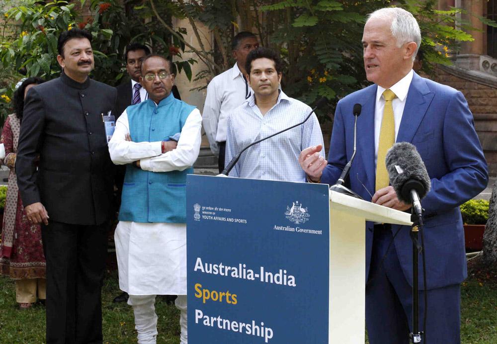 Prime Minister Turnbull launching the Australia –India sports partnership