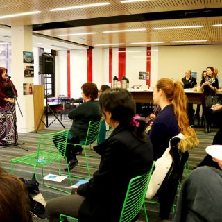 UC alumna Diana Abdel-Rahman was the special guest speaker at the University's UN World Refugee Day morning tea