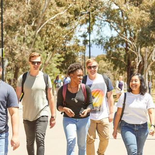 Image of students walking on campus
