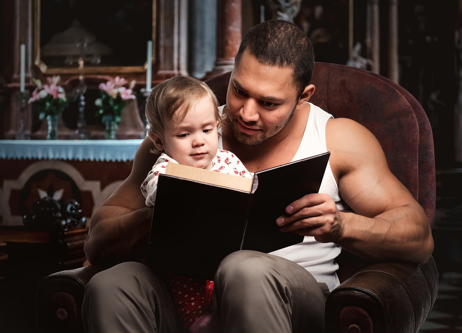 Father reading story to child