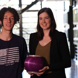 David Hinwood and Hayley Teasdale have invented the Equilibri Balance Ball to help reduce the likelihood of falls in the elderly and those whose balance is impaired, such as Parkinson's sufferers. Photo: John Masiello
