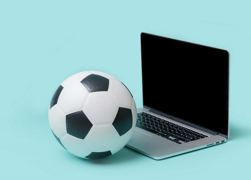 soccer ball and laptop
