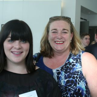 Student Polly Campbell and her mother Kate Whitehead smiling