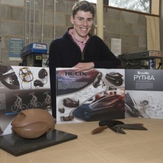 Industrial design graduate Dylan White with the projects he presented to the DIA
