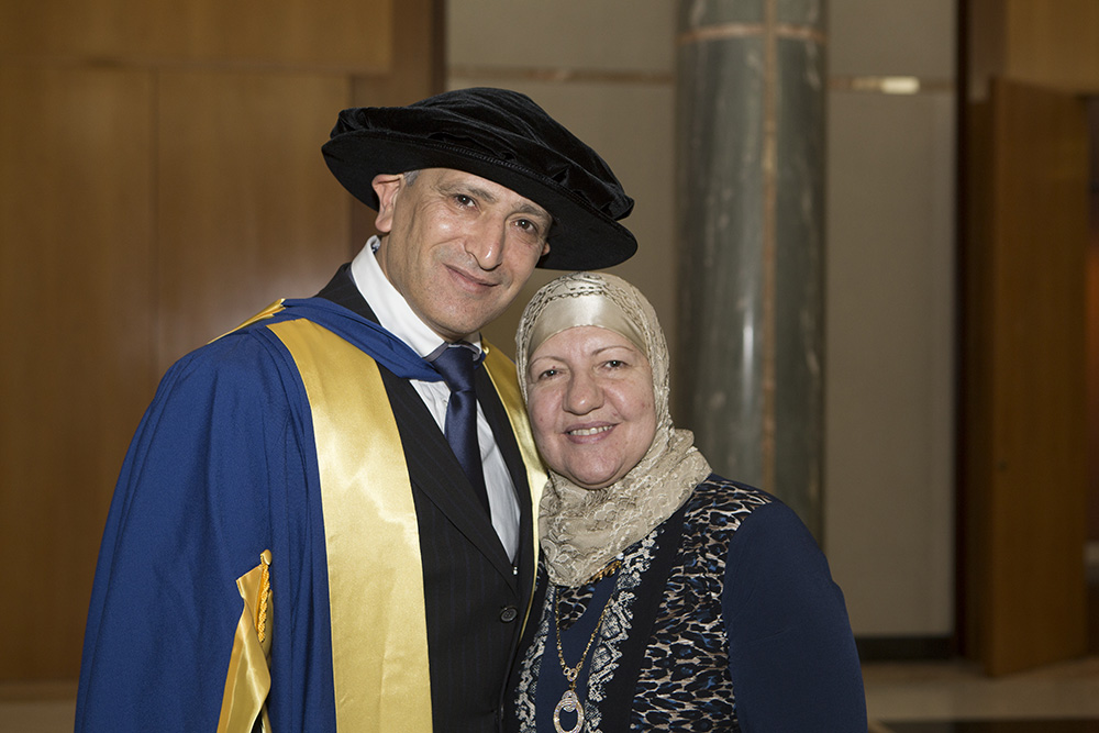 photo of Dr Jamal Rifi, who received an honorary doctorate from UC, with his wife Lana. Photo by Michelle McAulay.