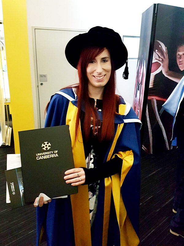 Angela Curcio  has earned her a Doctor of Philosophy from the University of Canberra