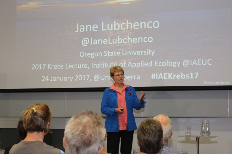 Dr Jane Lubchenco delivers the 2017 Krebs Lecture at the University of Canberra