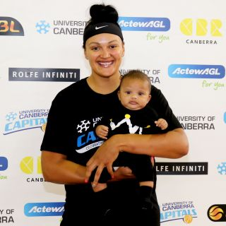 Mistie Bass and her new son Braven have arrived in the ACT ready for the University of Canberra Capitals 2017/18 WNBL pre-season