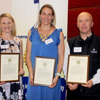 Holly Rice, Erin Stacey and Mark Hughes with their Rotary Vocational Excellence Awards
