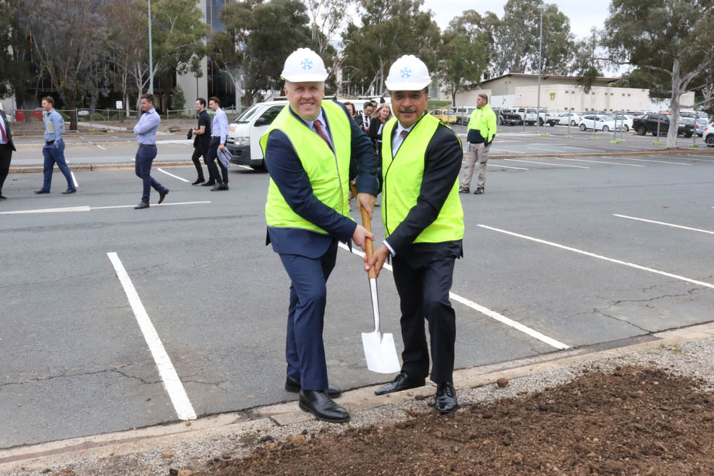 University of Canberra Vice-Chancellor Professor Deep Saini and Icon Group CEO Mark Middleton turn to first sod on the site of the Canberra Specialist Medical Centre