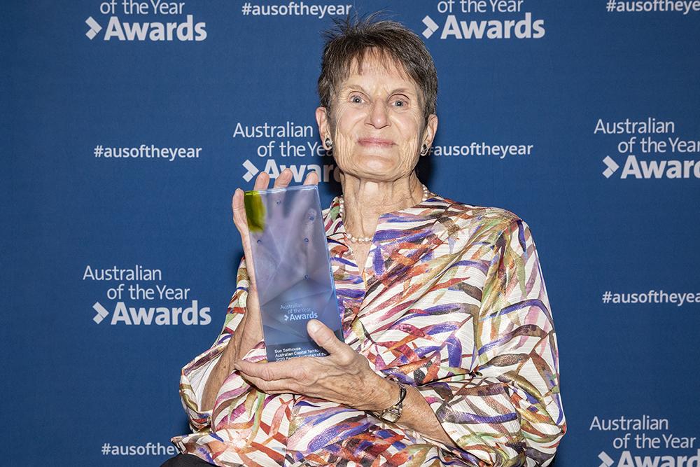 Sue Salthouse receiving her award