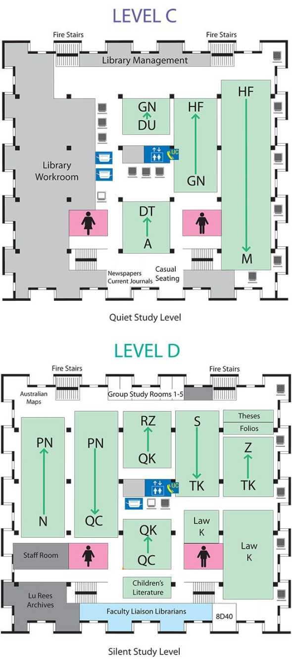 Map of the Library, Levels C and D