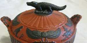 A 3D printed replica of a 200-year-old Wedgwood sugarbowl, the bowl features Egyptian-inspired motifs including a crocodile on the top.