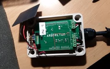 The inner workings of the Arboretum node, including circuitboards embossed with the word Arboretum