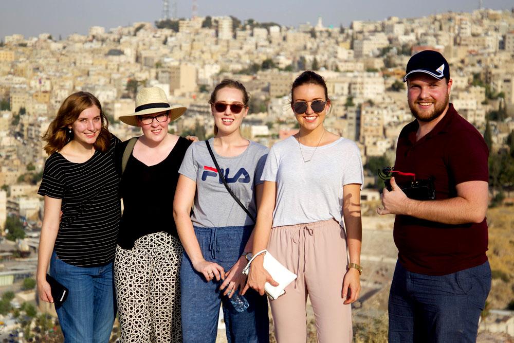 The 2017 AMEJE delegates at the Amman Citadel, Jordan