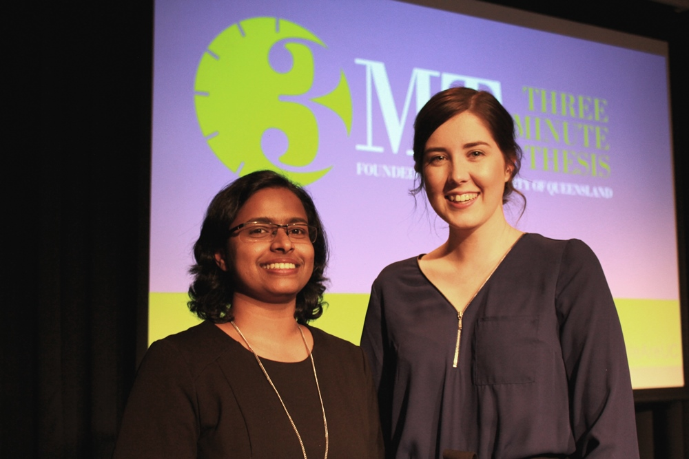 3MT winners Cynthia Mathew and Hayley Teasdale