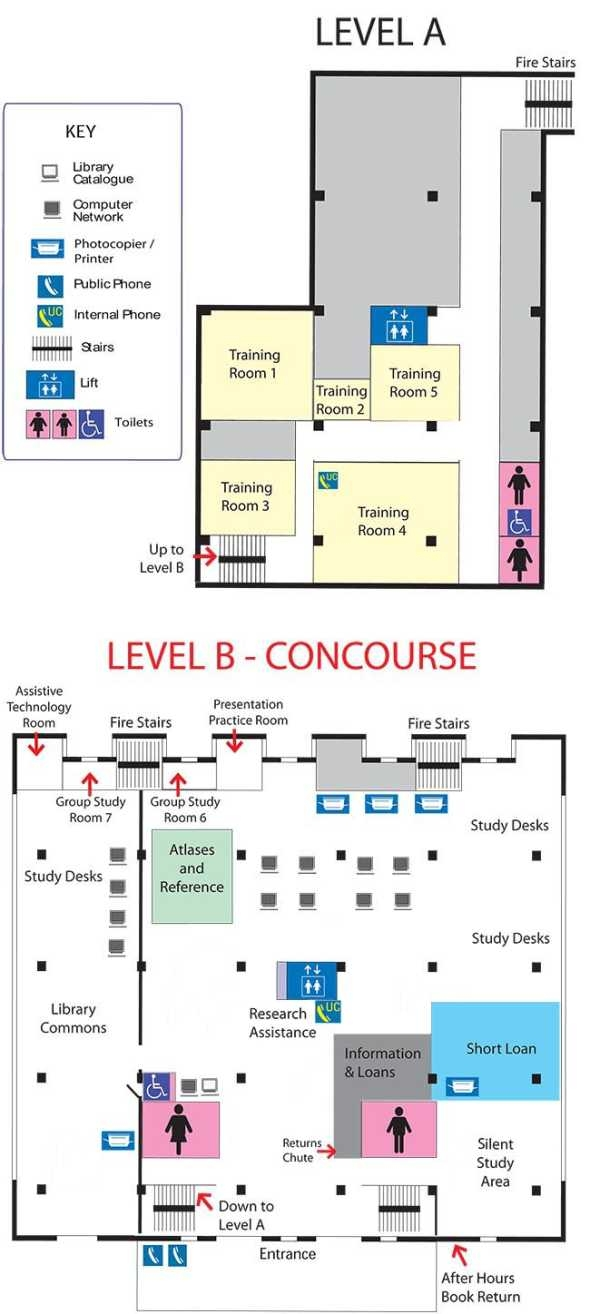 Map of the Library, Levels A and B