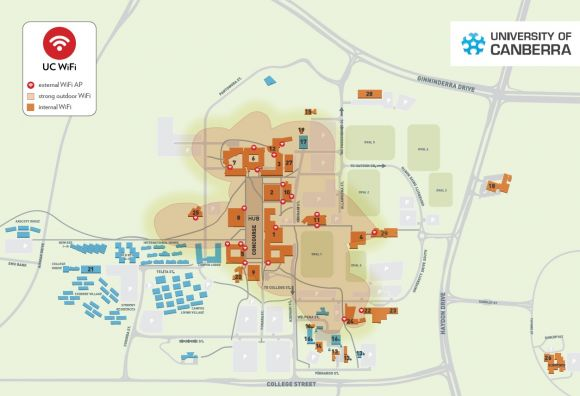University of Canberra WiFi coverage map