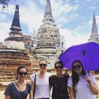 UC students Jamie Anne Davies, Alexandra Madden, Jade Chapman and Harriett Madden visiting the Wat Phra Si Sanphet temple in Ayutthaya, Thailand