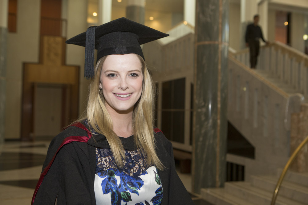 elisa Apps at her graduation ceremony at Parliament House