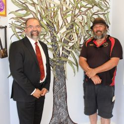 Aboriginal Scar Tree painted by Duncan Smith of Wiradjuri Echoes