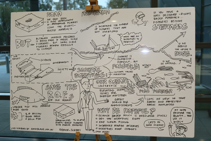 The second panel of Gavin Blake's live scribing of Jane Lubchenco's Krebs Lecture