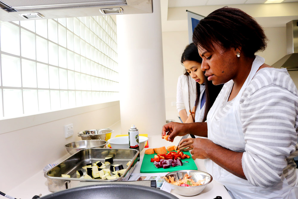 Students taking part in the cooking class