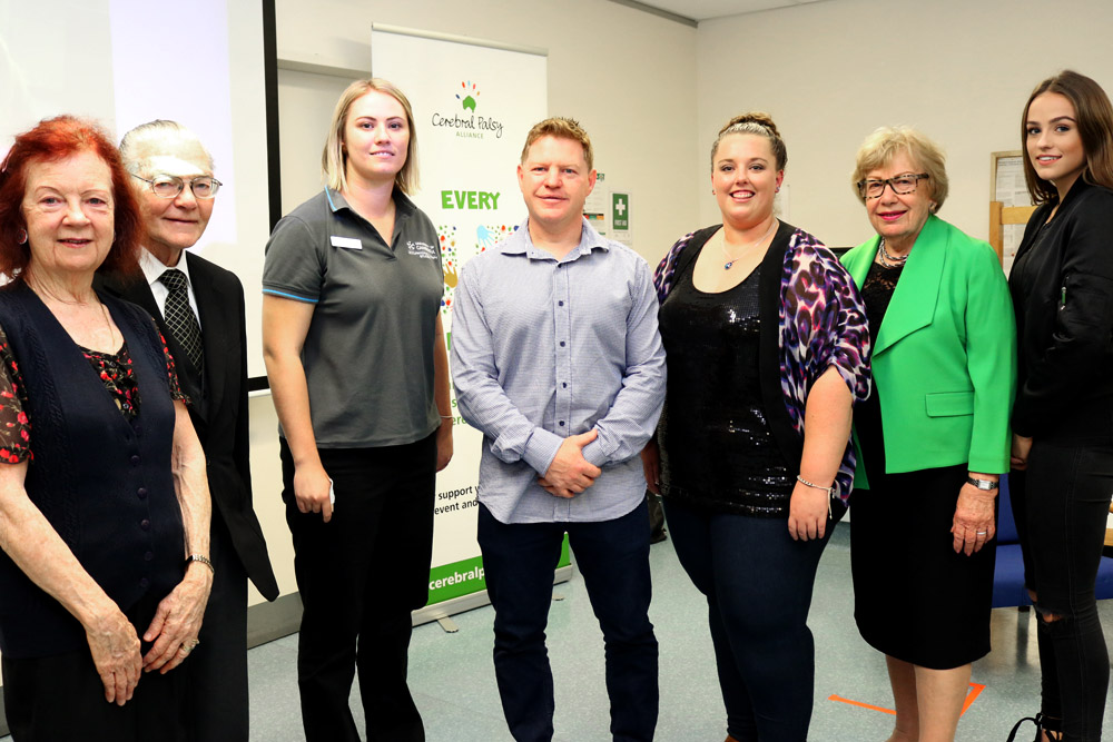 Gabby Robberds scholarship winners Hannah Martin and Jessica Callaghan with the Robberds family and Margaret Reid AO