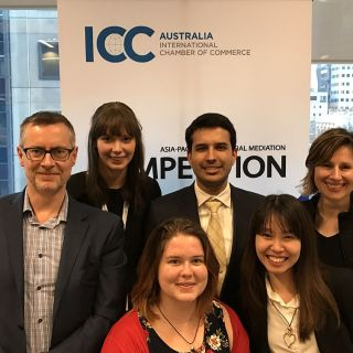 University of Canberra students and coaches at the ICC Asia-Pacific Commercial Mediation Competition in Melbourne. L-R back: James Judge, Victoria McGinness, Rohail Azhar and Doris Bozin. L-R front: Claire Marron and Tien Pham.
