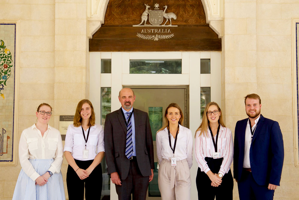 The 2017 AMEJE delegates with Australia's ambassador to Jordan, Miles Armitage