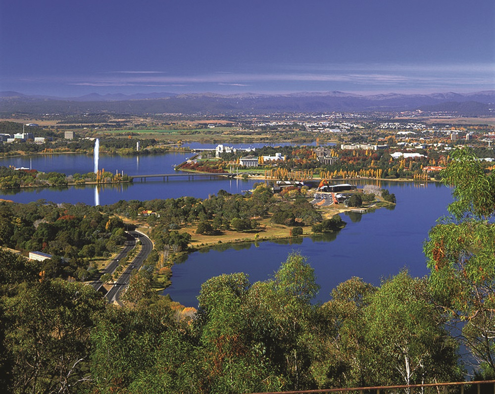 An aerial view of Canberra looking over Lake Burley Griffin
