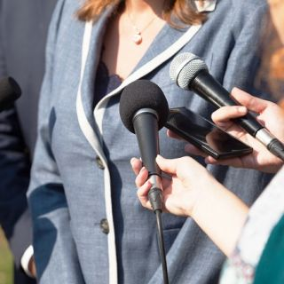 Female politician being interviewed
