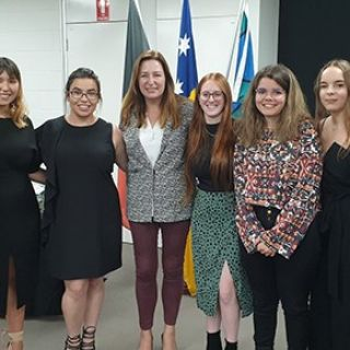 Five UC Indigenous students receive their scholarships.