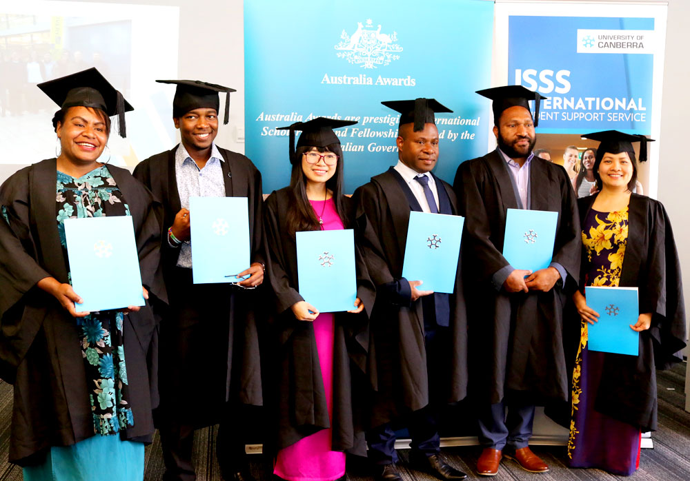The students came from Bhutan, Liberia, Papua New Guinea, Vietnam, Indonesia, Kenya and Nepal to study at the University of Canberra