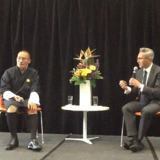 Bhutan's Prime Minister Tshering Tobgay speaks at the University of Canberra with Dean of Business, Government and Law Lawrence Pratchett