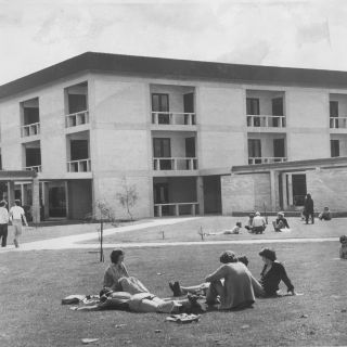 Image of the University of Canberra outside Building 1 taken in September 1979