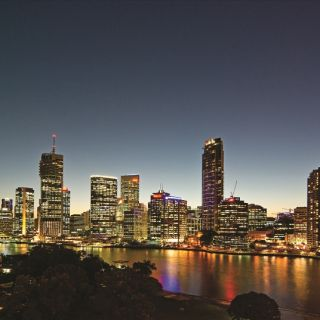 The Brisbane skyline by night