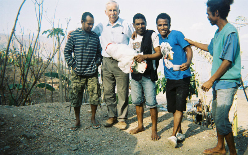 Peter giving sails to a group in Timor Leste