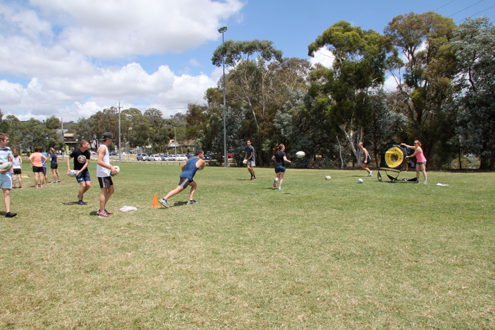 Students playing rugby at the Sports Day