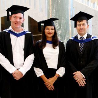 UC graduates Sean Gavin, Indumathi V and Peter Godwin