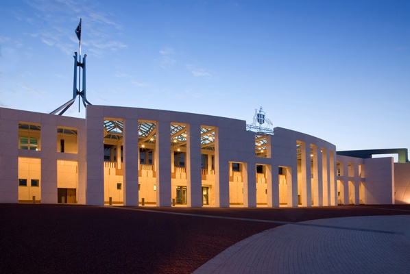 The entrance to Parliament House at night