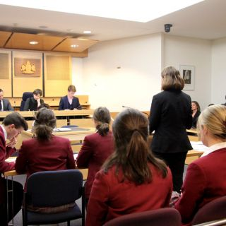 Students from Radford College and Dickson College in the University of Canberra e-court competing in the Capital Region Mock Trial Competition