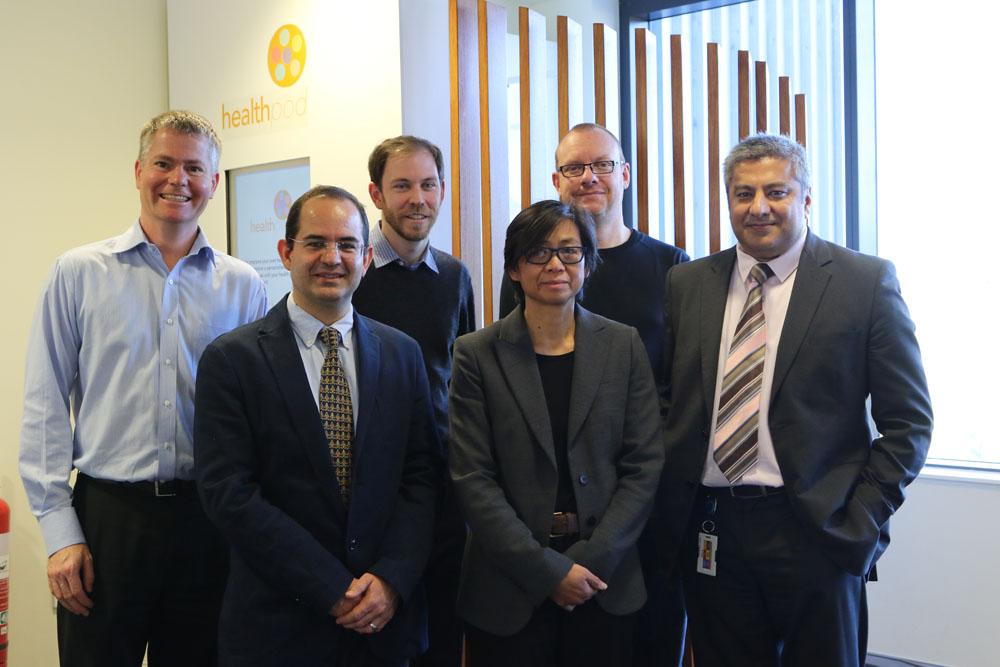 (L to r) Back – Leif Hanlen, CSIRO Data61; Vincent Learnihan, UC-HRI; Cameron Grant, CSIRO Data61; Front – Dr Carlos Montana Hoyos, University of Canberra; Professor Rachel Davey, Director UC-HRI; Dr Paresh Dawda, Ochre Health.