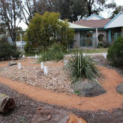 Well maintained garden with discovery path for the children