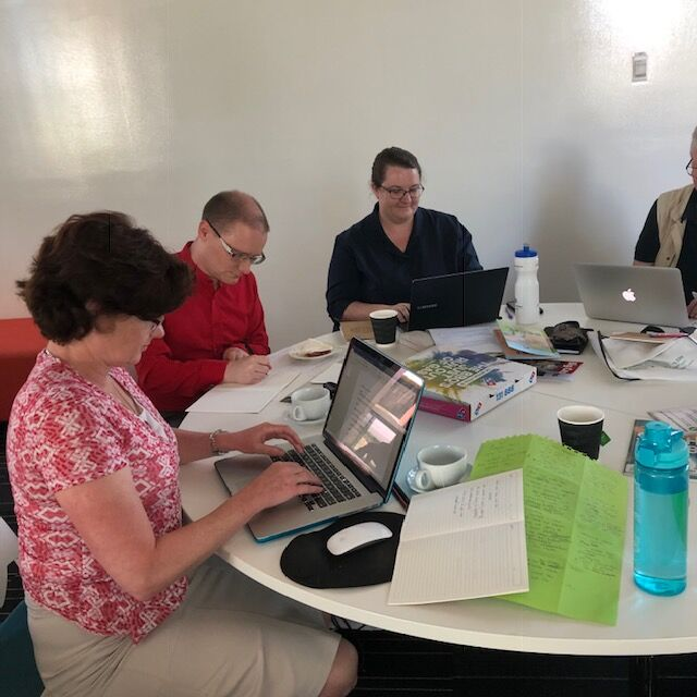Reseachers, educators and librarians from the University of Canberra spent an enjoyable day creating non-fiction children's books from scratch, at a writing workshop organised by Library For All. Photo: supplied