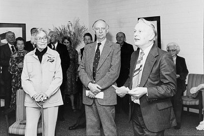 Victor Crittenden with Lu Rees and Dr Waterhouse announcing the agreement between the University of Canberra Library and the Lu Rees Archives