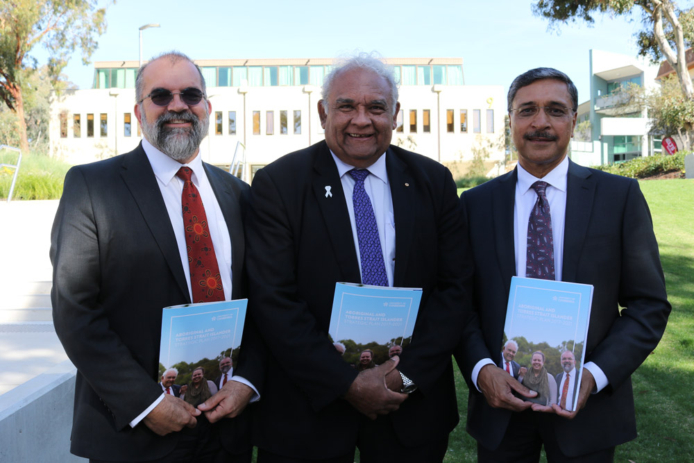 L-R: Dean for Aboriginal and Torres Strait Islander Leadership and Strategy, Professor Peter Radoll, Chancellor Professor Tom Calma AO and Vice-Chancellor and President Professor Deep Saini launch the University's Aboriginal and Torres Strait Islander Strategic Plan. Photo: Kim Pham